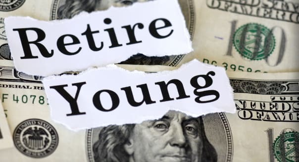 Hundred dollar bills with the words retire young.