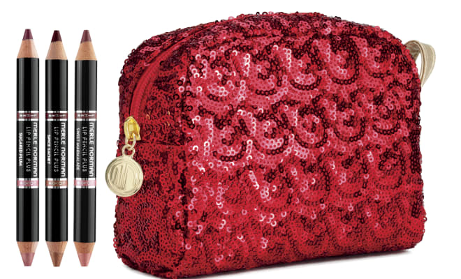 merle norman Pucker Up Lip Set holiday gift with sequin bag