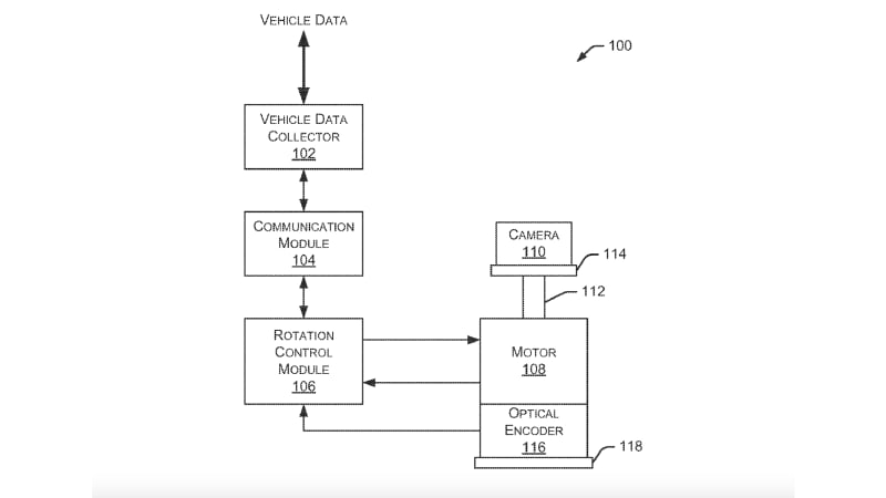 Ford camera mount patent drawing