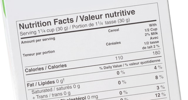 nutrition fact label and hand...