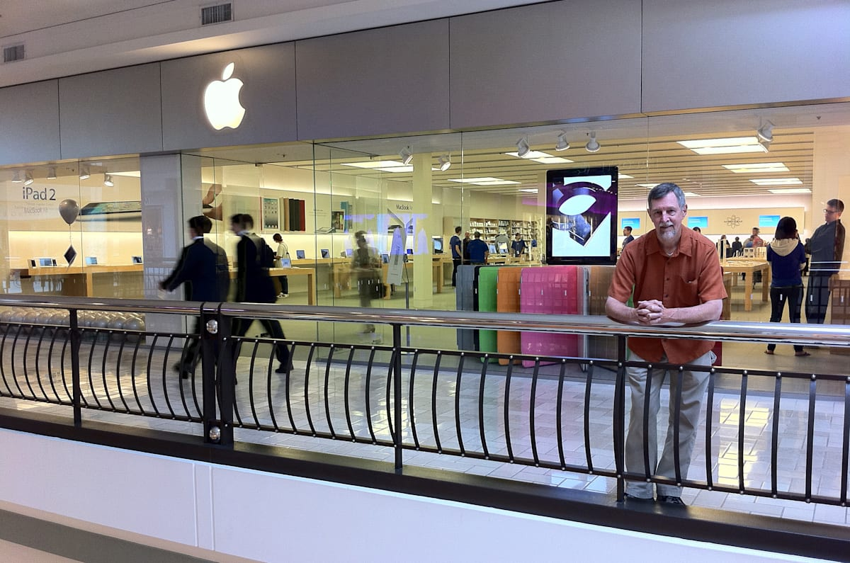 Gary Allen of Berkley, CA poses for a portrait in front of the Tysons Corner Apple Store in McLean, VA