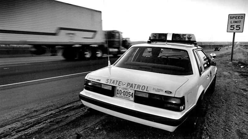 MAR 19 1987; Trooper Dave Lohf with the state patrol in his patrol car on north I25, north of 120th