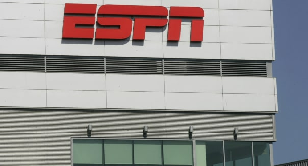 The ESPN logo is displayed outside L.A. Live, which houses the ESPNZone, in Los Angeles, California, U.S., on Tuesday, Aug. 31, 2010. Time Warner Cable Inc.'s negotiations to renew rights to ESPN may be held up on a demand by the sports channel's owner, Walt Disney Co., to be paid for a related website, people with knowledge of the talks have said. Photographer: Jonathan Alcorn/Bloomberg via Getty Images