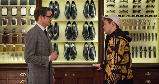 "Colin Firth tutors Taron Egerton in ""Kingsman: The Secret Service"""