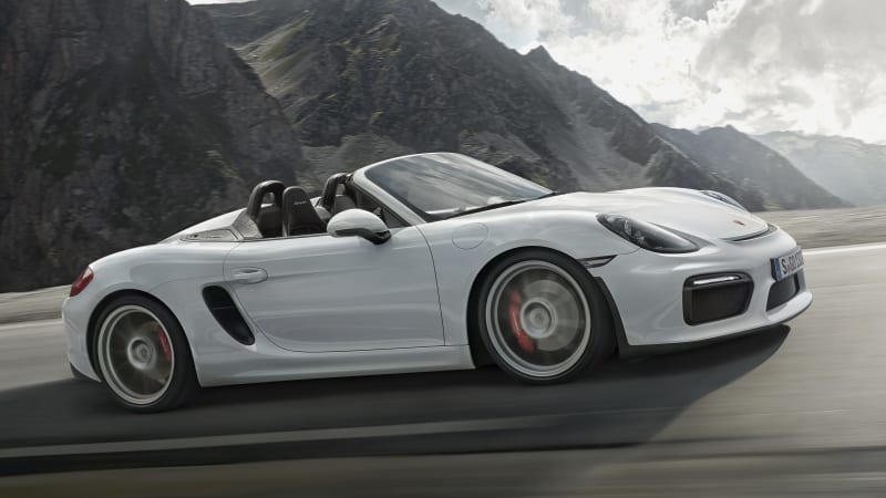 the porsche boxster spyder is back with 375 horsepower a manual transmission a no frills interior and a manually operated cloth roof we want one now