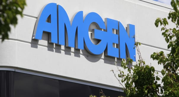 FILE - In this April 21, 2010 file photo, the exterior view of Amgen Inc. offices is shown in Fremont, Calif. Amgen Inc. says first-quarter profit rose 5 percent on higher sales of its top two drugs and two new ones, and it easily beat Wall Street forecasts, Tuesday, April 24, 2012. (AP Photo/Paul Sakuma, File)