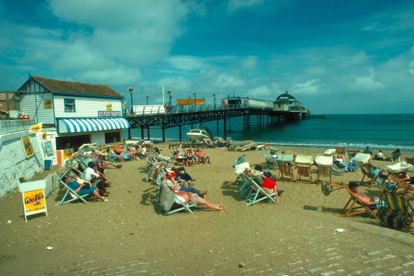 The pier from the beach, Shanklin, Isle Of Wight, England.