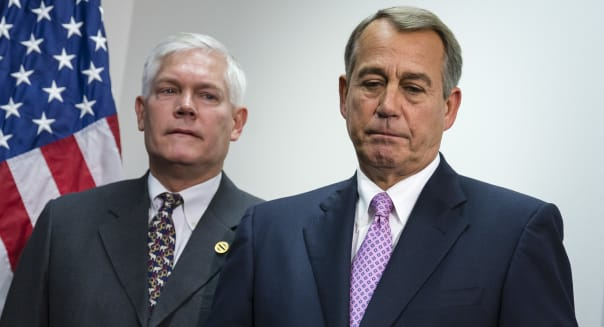FILE - In this Oct. 4, 2013 file photo, Speaker of the House John Boehner, R-Ohio, is joined by Rep. Pete Sessions, R-Texas, left,  during a news conference at the Capitol. People hoping for a better-functioning government can?t decide whether to cheer or lament Congress? bipartisan budget bill.  Legislative leaders call a breakthrough even as they acknowledge it does little. (AP Photo/J. Scott Applewhite, File)
