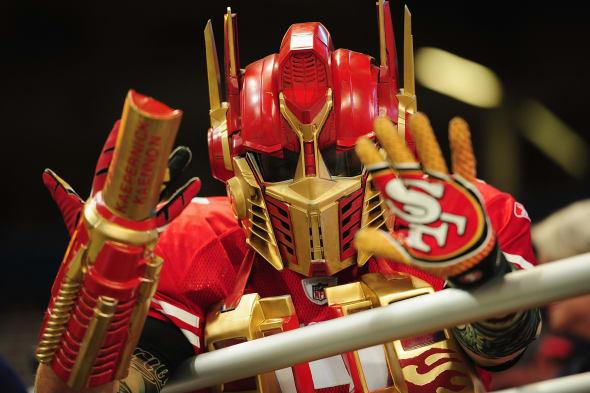 San Fancisco 49ers fan dresses in full costume