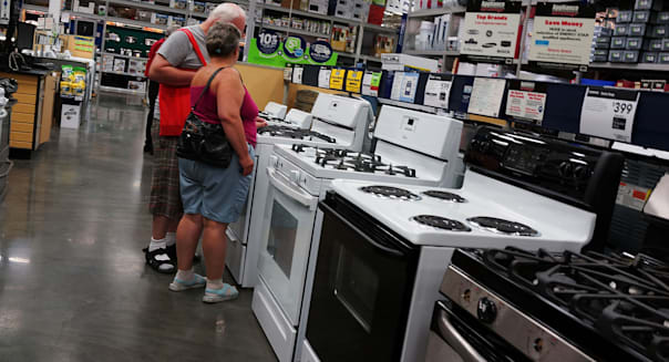NEW YORK, NY - AUGUST 26:  People shop for stoves in a Manhattan home furnishing store on August 26, 2013 in New York City. A report on Monday showed that sales of durable goods recorded their biggest drop in nearly a year in July. Items including computers, defense equipment and home appliances saw a 7.3 percent drop according to the Commerce Department.  (Photo by Spencer Platt/Getty Images)