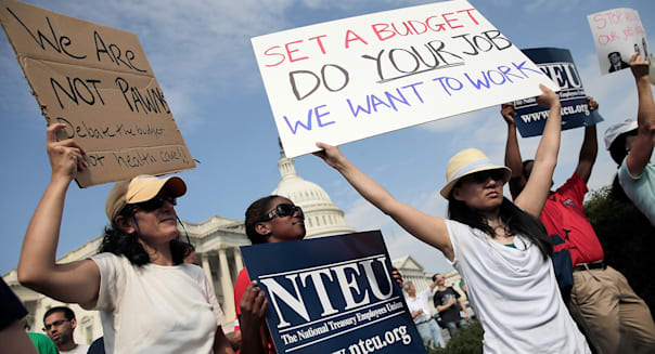 Furloughed Federal Workers Protest Government Shutdown
