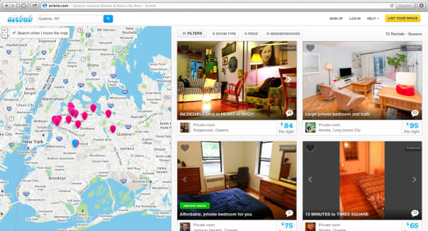 Apartments As Hotels (This Oct. 14, 2013 screen shot provided by Airbnb from their website shows a typical search for listings o