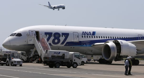 Japan Boeing 787 (A Boeing 787 of All Nippon Airways lands after a test flight at Haneda International Airport  in Tokyo, Sunday