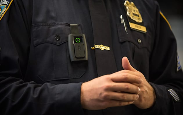 Mayor De Blasio Discusses Use Of Police Body Cameras At Police Academy In Queens