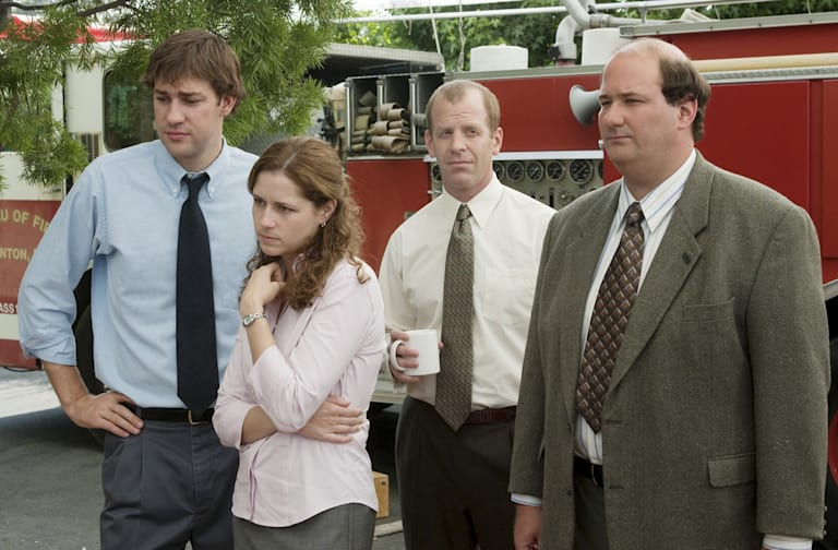 "THE OFFICE -- ""The Fire"" Episode 4 -- Aired 10/11/2005 -- Pictured: (l-r) John Krasinski as Jim Halpert, Jenna Fischer as Pam Beesly, Paul Lieberstein as Toby Flenderson, and Brian Baumgartner as Kevin Malone -- Photo by: Paul Drinkwater/NBCU Photo Bank"