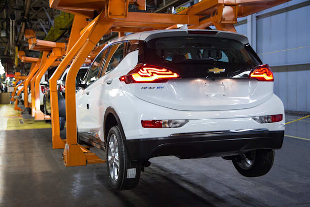 A Chevrolet Bolt EV pre-production vehicle on the assembly line Wednesday, March 16, 2016 at General Motors Orion Assembly Plant in Orion Township, Michigan. (Photo by Jeffrey Sauger for Chevrolet)