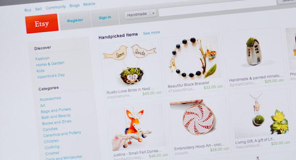 Etsy website - e-commerce website for selling handmade or vintage items as well as art and craft supplies