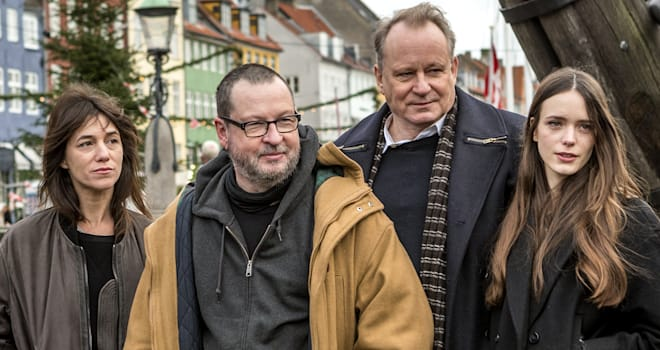 Charlotte Gainsbourg, Lars von Trier, Stellan Skarsgaard, and Stacy Martin at a 'Nymphomaniac' Photo Call in Denmark
