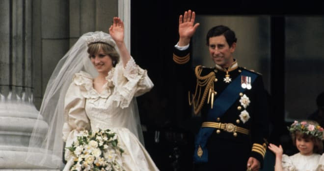 Charles and Diana Waving After the Wedding
