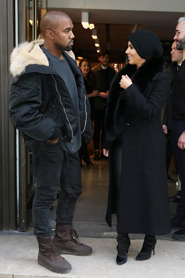Mandatory Credit: Photo by Beretta/Sims/REX (4490847an)Kim Kardashian and Kanye WestKim Kardashian and Kanye West out and about, Paris, France - 05 Mar 2015