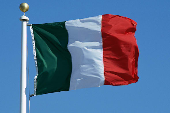 Flag of ItalyBlue Clear Sky Day  Outdoors Rectangle Rippled Flag Wind Identity Patriotism Culture Close-up Color Image Nobod
