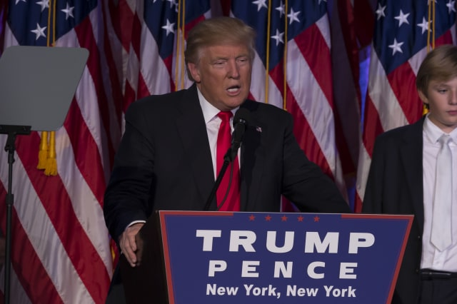 Donald Trump elected 45th President of USA speaks on stage
