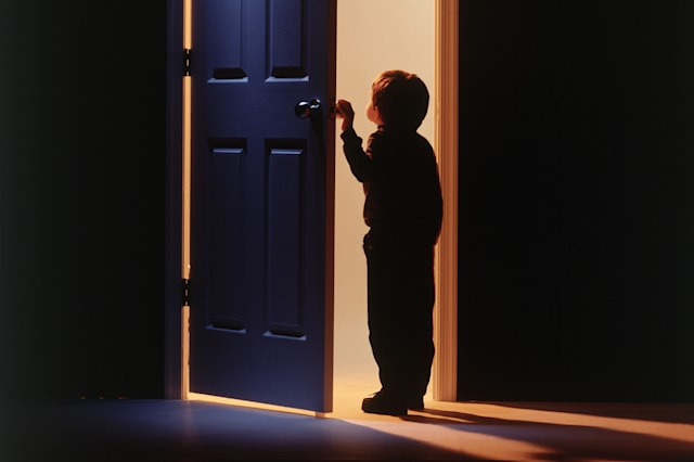 Little boy holding door
