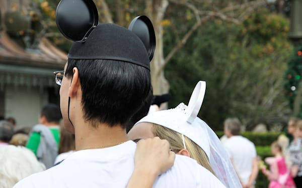 Romantic couple in Disneyworld, Orlando, Florida, USA