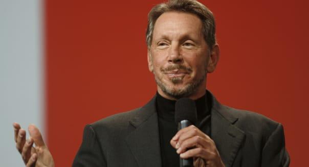 Oracle CEO Larry Ellison delivers a keyn