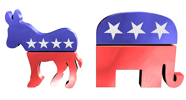 C006JF Republican and democrat symbols republican; democrat; donkey; elephant; symbol; america; elephant; republican; democrat;