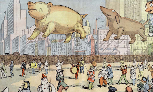 Thanskgiving parade on Broadway, New York, with balloon with animal shapes, illustration by Damblans from french paper 'Le Peler