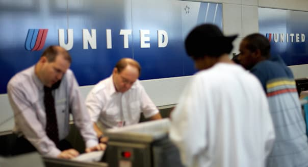 The United Airlines ticket counter