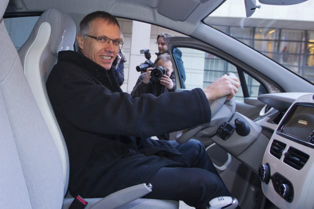 Renault Chief Operating Officer Carlos Tavares, pose for the photographers inside the new Renault Zoe Monday, Dec 17, 2012 in Paris. (AP Photo/Jacques Brinon)