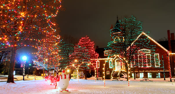 a brightly lit small town...