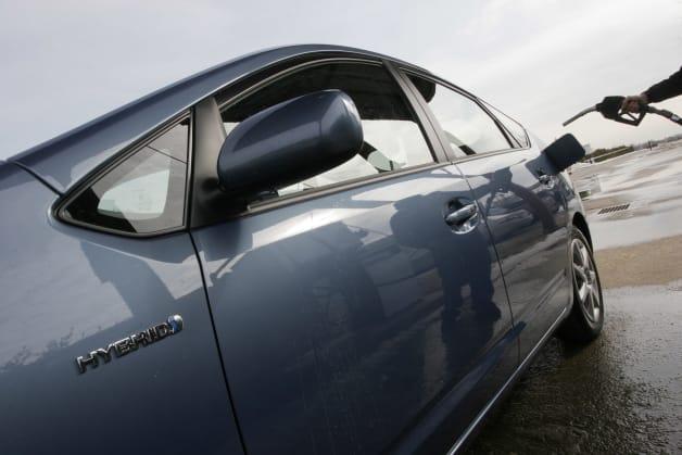 Toyota Prius at fuel pump