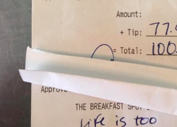 Waitress brought to tears by note and generous tip
