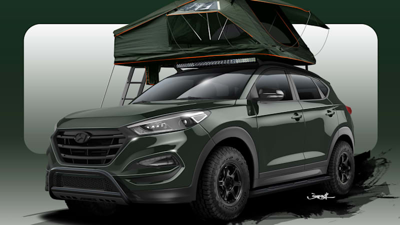 Nissan Pathfinder Performance Parts Hyundai Tucson Adventuremobile ready for camping at SEMA - Autoblog