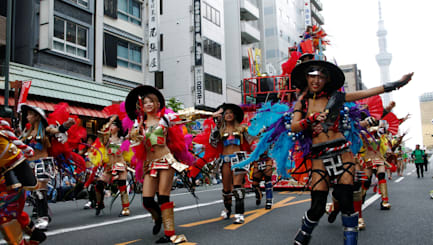 Thousands of Japanese samba through Tokyo
