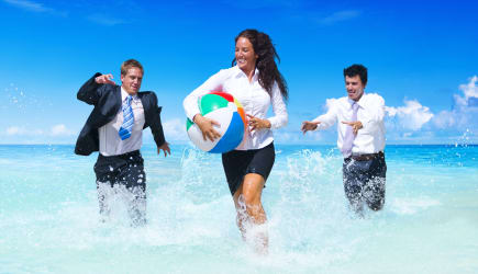 Business people having fun on vacation