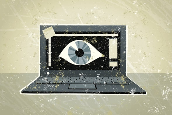 Laptop Computer with a Giant Eye