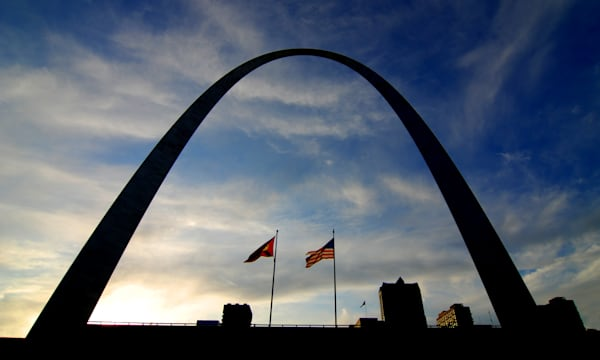 silhouette of st. louis arch...