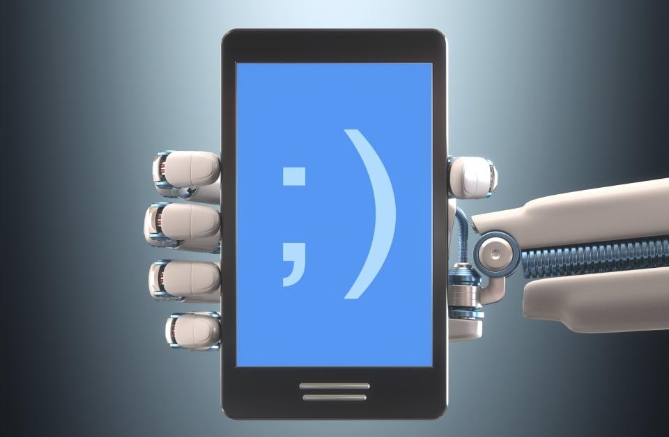 Robotic hand holding phone, illustration