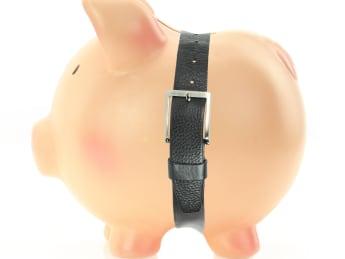 piggy bank with a belt....