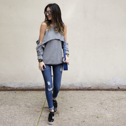Street style tip of the day: Pops of blue