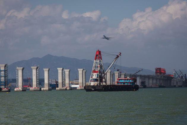 Hong Kong-Zhuhai-Macau Bridge (HZMB) Under Construction And China-Hong Kong Border Ahead Of The Anniversary Of The City's Handov