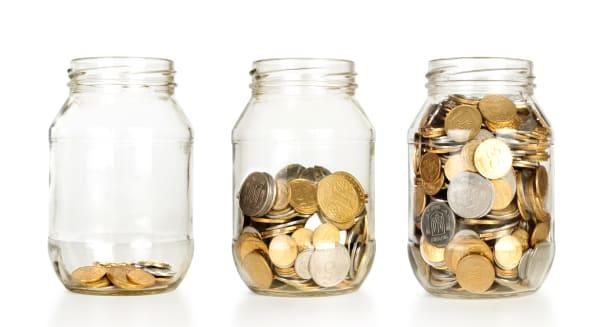glass jars with coins like...