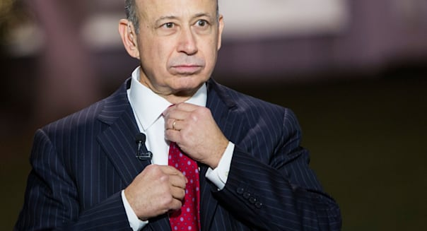 Lloyd Blankfein, Chairman and CEO of Goldman Sachs speaks outside of the White House.
