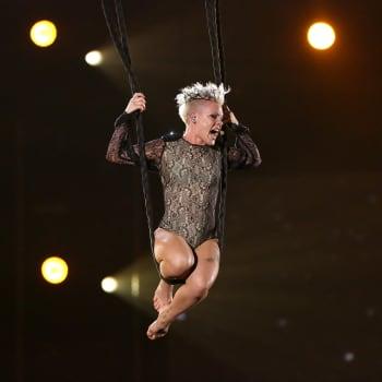 Pink 2014 Grammys aerial performance