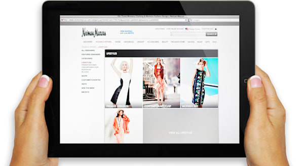 Neiman Marcus clothing store on iPad screen