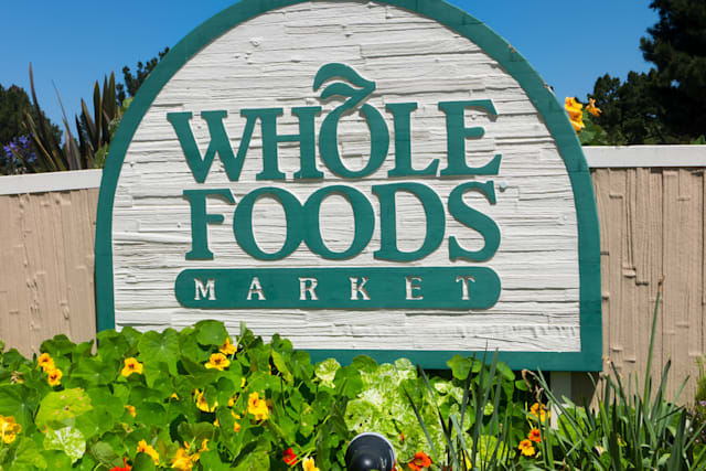 MONTEREY, CA/USA - APRIL 10, 2014:  Whole Food Market exterior sign.  Whole Foods is an American foods supermarket chain special